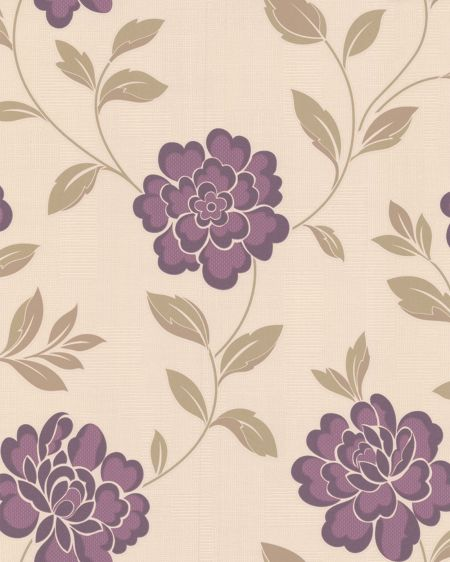Graham & Brown Plum/cream iris wallpaper