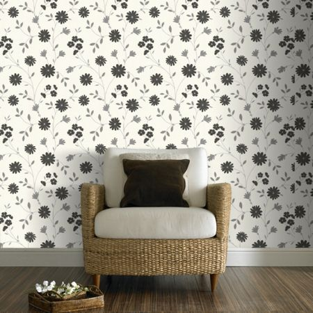 Graham & Brown Black & White Belle Floral Wallpaper