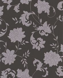 Graham & Brown Silver charcoal effect wallpaper