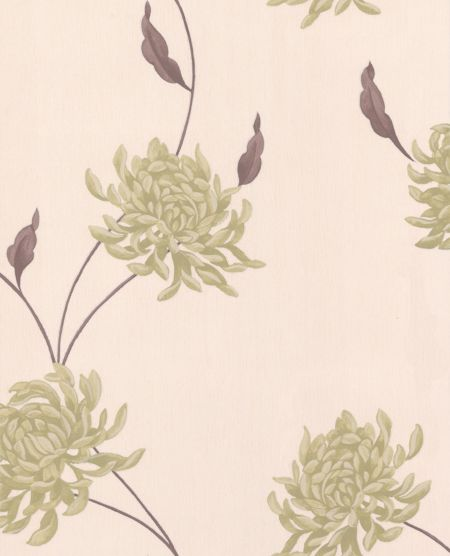 Graham & Brown Green/cream eve wallpaper