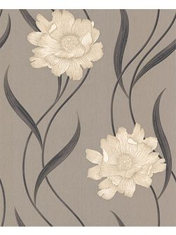 Taupe/charcoal poppy wallpaper