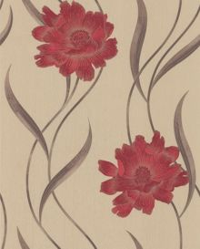 Graham & Brown Red/beige poppy wallpaper