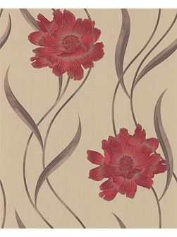 Red/beige poppy wallpaper