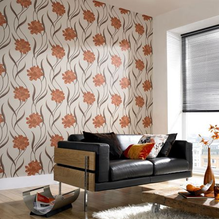 Graham & Brown Orange/cream burnt poppy wallpaper