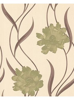 Graham & Brown Green/cream poppy wallpaper