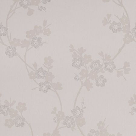 Graham & Brown White cherry blossom mica wallpaper