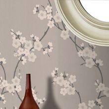 Graham & Brown Taupe/charcoal cherry blossom wallpaper