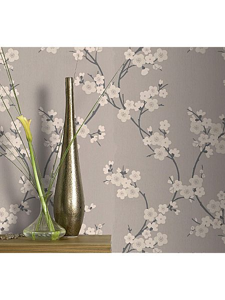 Roberts Blossom Wallpapers Brown Taupe charcoal cherry blossom wallpaper House of Fraser