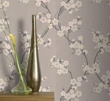 Taupe/charcoal cherry blossom wallpaper
