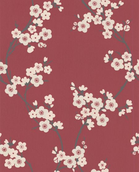 Graham & Brown Red silver cherry blossom wallpaper