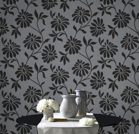 Graham & Brown Charcoal ophelia shimmering wallpaper