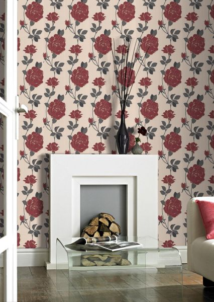 Graham & Brown Red rosey wallpaper