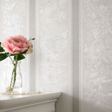 Graham & Brown Silver mist floral stripe wallpaper