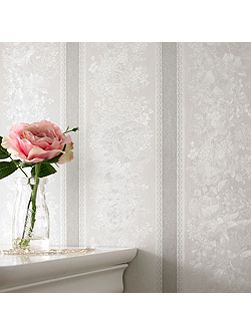 Silver mist floral stripe wallpaper