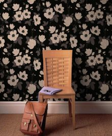 Graham & Brown Charcoal elinor wallpaper