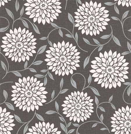 Graham & Brown Cream flora charcoal essence alium wallpaper