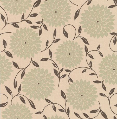 Graham & Brown Cream/olive essence flora wallpaper