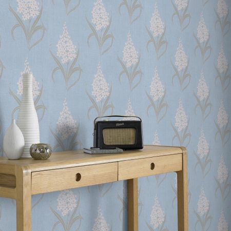 Graham & Brown Blue Hyacinth Floral Wallpaper