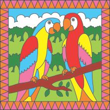 Paint by numbers parrots & tropical fish