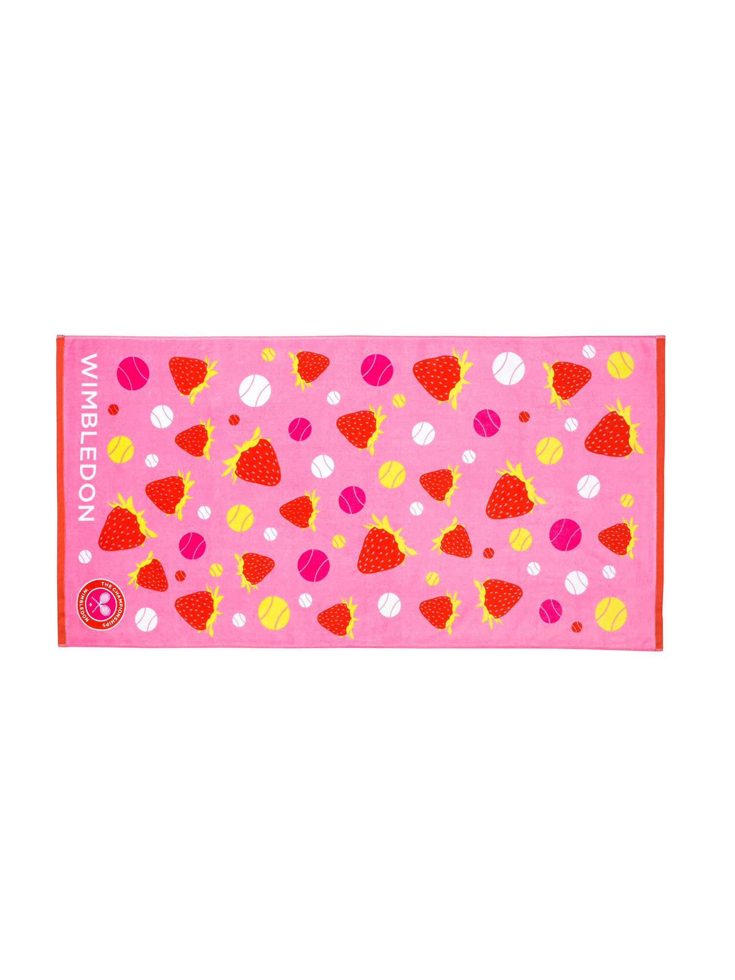 Wimbledon pink strawberry beach towel