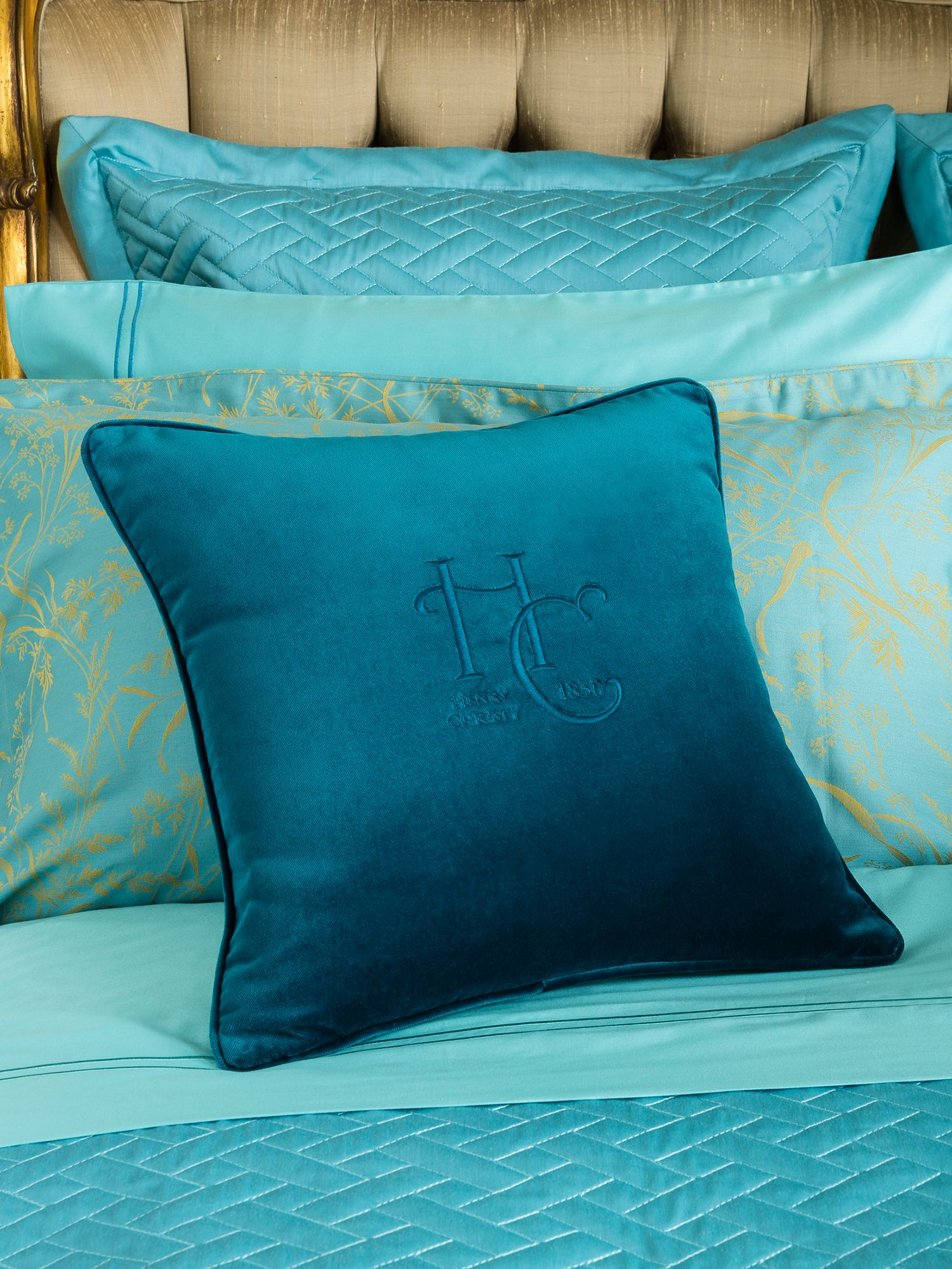 Monogram Cushion x teal  3