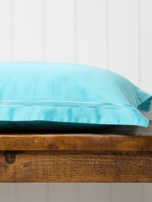 Satin stitch double fitted sheet lagoon
