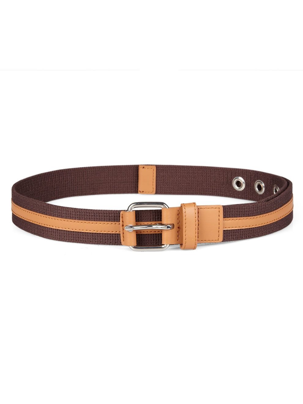 Calvert  leather and canvas woven belt