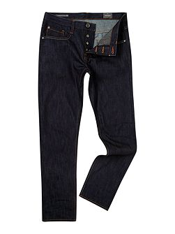 Five pocket raw denim jeans
