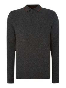 Dessau long sleeved lambswool knitted polo shirt