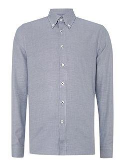 Morris micro chevron roll collar shirt
