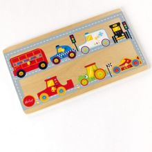 Road and vehicle wooden puzzle
