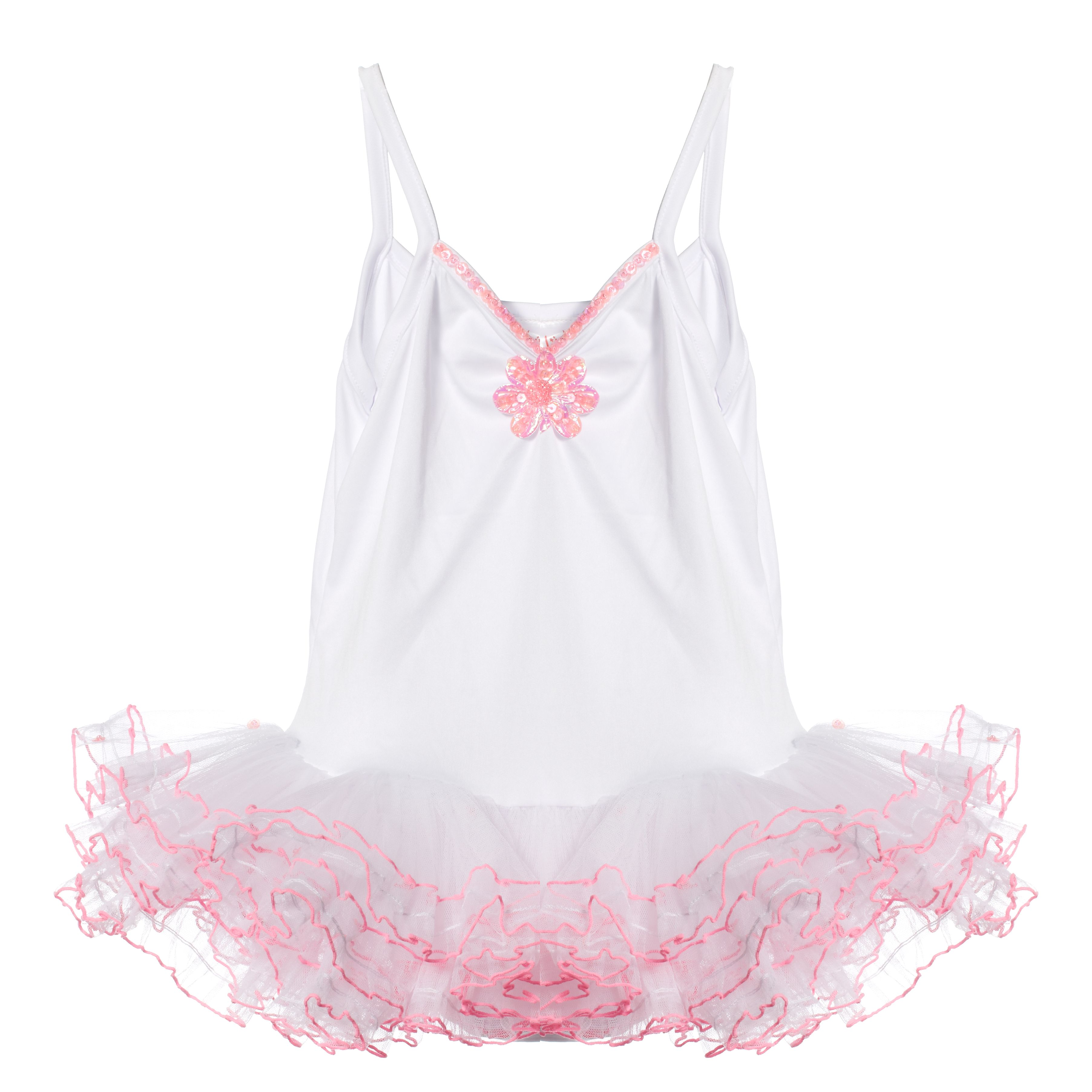 Pretty White and Pink Tutu (age 6 - 8 years)