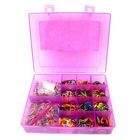 Jacks Rainbow glitter Looms Case, 1000 Bands