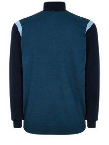 Contrast Sleeve Half Zip Neck Jumper