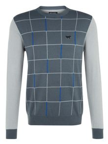 Grid Panel Crew Neck Pull Over Jumper