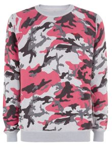 Printed Camo Crew Neck Pull Over Jumper