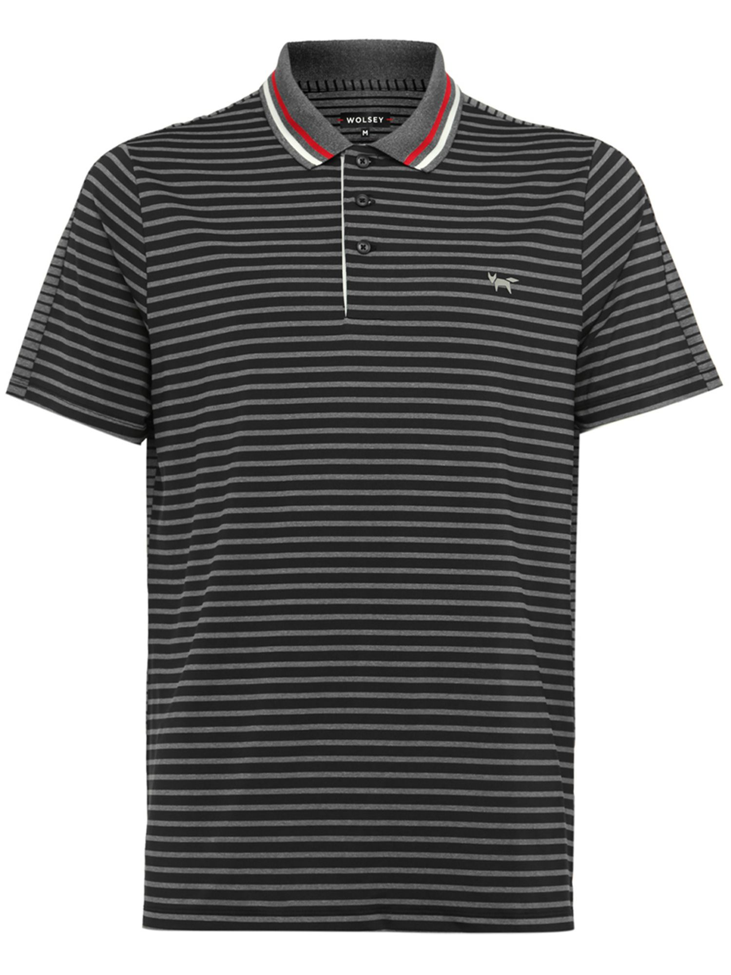 Men's Wolsey Stripe Split Polo, Grey