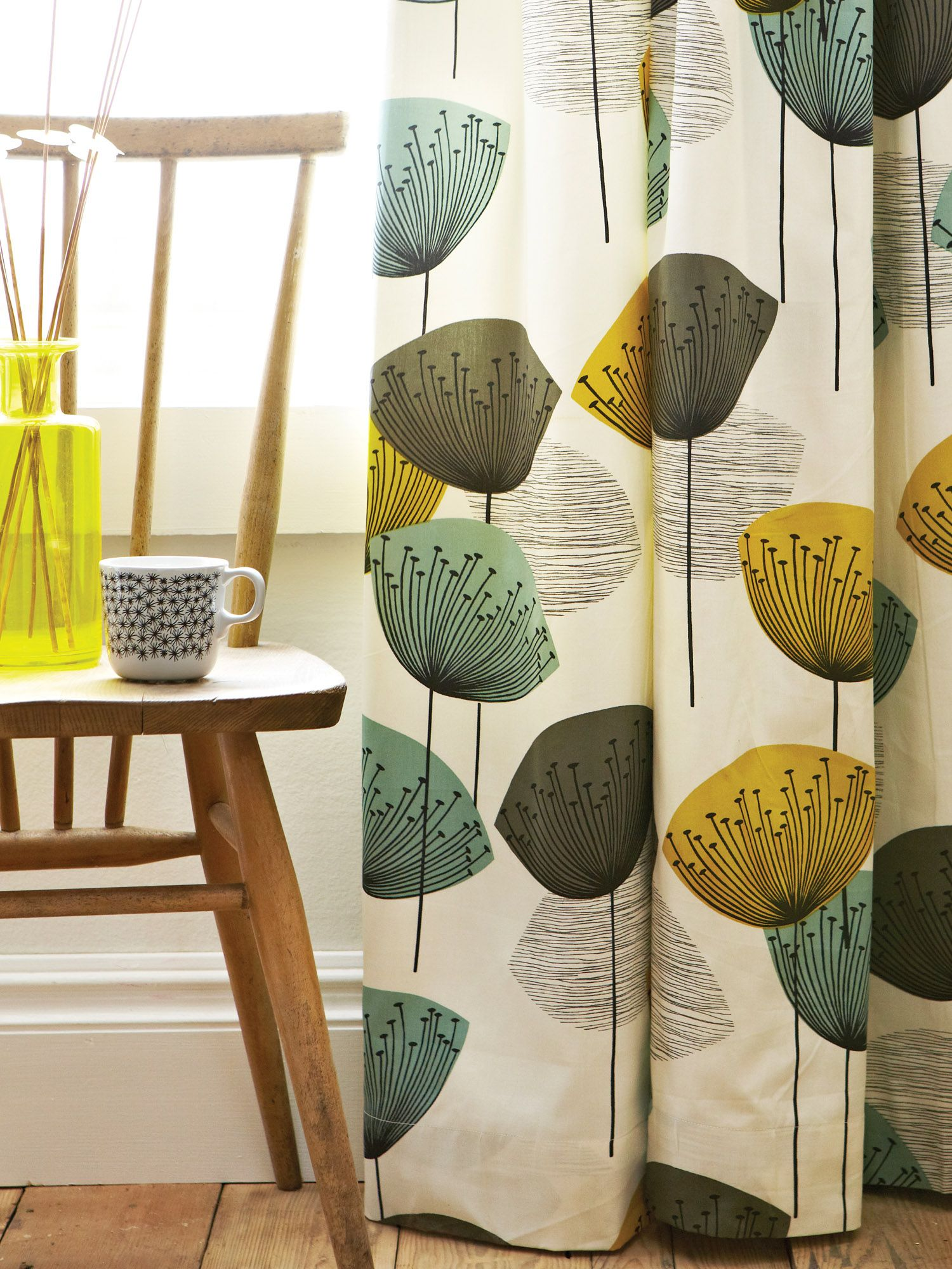 Dandelion clocks lined curtains 66x72 chaffinch