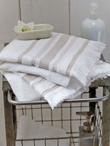 Haven stripe towels guest towel natural