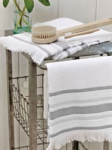 Haven stripe towels bath grey