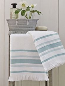 Haven stripe towels bath duckegg