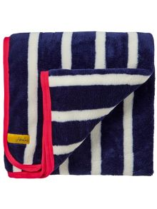 Joules All-sports stripe fleece throw 140x180cm navy