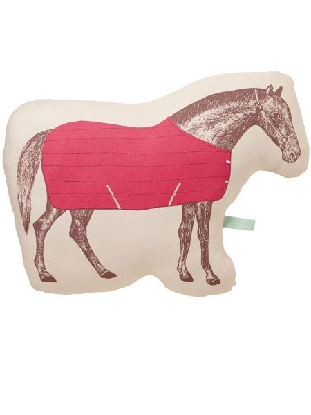 Joules Horseplay shaped cushion pink