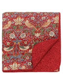 Morris & Co Strawberry thief  quilted throw crimson