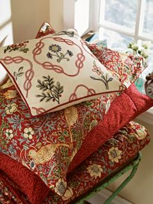 Strawberry thief kelmscott trellis cushion crimso