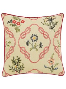 Morris & Co Strawberry thief kelmscott trellis cushion crimso