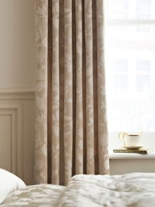 Bird blossom lined curtains 66x72 natural