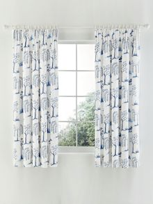 Willow tree lined curtains 66x72 in blue