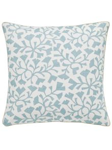Sanderson Dawn chorus/Batik leaf cushion 40x40cm