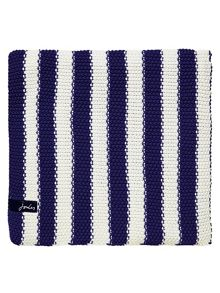 Moss stitch stripe blanket 140x200 navy